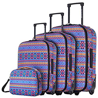 DAVIDJONES Vintage Print 4 Piece Luggage Set