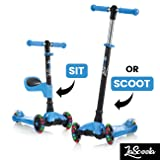Scooter for Kids Scooters 3 Wheeled Scooter 3 Wheel Scooter for Kids Ages 2-12 (Blue) (Color: Blue)
