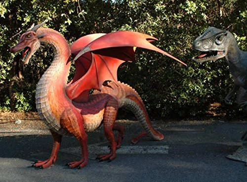 GIANT Dragon red WINGS big huge statue COOL Life Size eragon Sculpture WOW