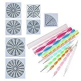 20Pcs Mandala Dotting Tools for Painting Rocks, 7Pcs Mandala Dotting Stencils Template Set + 8Pcs Acrylic Rods + 5Pcs Ball Stylus Dotting Tools by BAISDY (20Pcs) (Color: 20Pcs)