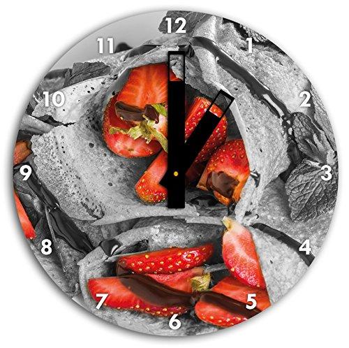 délicieuses crêpes aux fraises et glaçage au chocolat noir / blanc, diamètre 30cm horloge murale avec du noir au carré les mains et le visage, objets décoratifs, Designuhr, aluminium composite très agréable pour salon, bureau