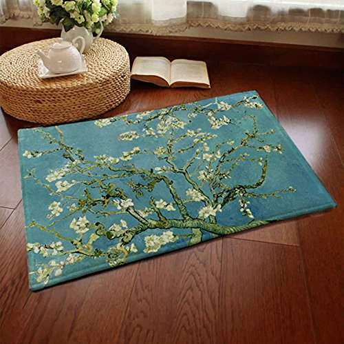 """CountyLinen Doormat Welcome Mats Home Décor Rugs for Indoor Outdoor Office with Non-slip Back,23.6"""" x 15.7""""- Oil Painting Almond Blossoms"""