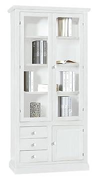 CLASSICO libreria Shabby Chic elegante mobile libreria bianco opaco 90x41x186 1388