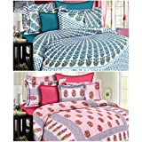 Grafion Cotton Multicolour Set Of 2 Cotton Double Bed Sheets With 4 Pillow Covers