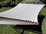 Polyester Rope Hammock Deluxe Extra Wide with 3-Beam Weather-Proof Stand - Cream