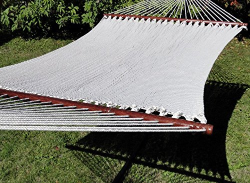 Polyester Rope Hammock Deluxe Extra Wide with 3-Beam Weather-Proof Stand – Cream