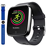 Smart Watch, Sport Waterproof Smartwatch, Fitness Tracker with Heart Rate Blood Pressure Sleep Monitor Calorie Burn Counter, Message Call Reminder Smart watch with Magnetic Charger for Men Women Kids. (Color: Black)