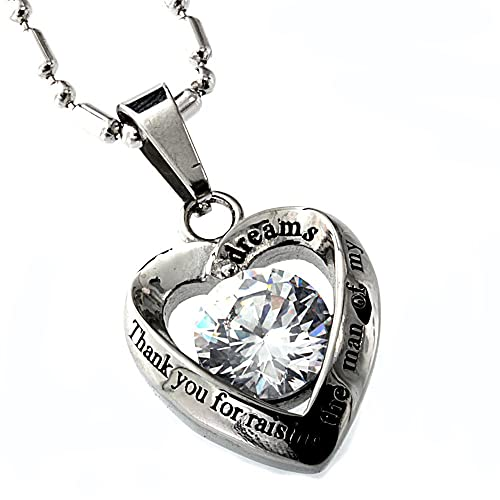Womens Stainless Steel Pendant, Mother in Law Cz Diamond, Thank You for Raising the Man of My Dreams.