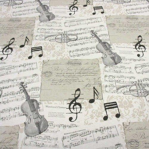 Stoff-Meterware-Musikinstumente-Noten-Geige-Trompete-ecru-schwarz