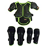 Takuey Kids Motorcycle Armor Suit Dirt Bike Chest Spine Protector Back Shoulder Arm Elbow Knee Protector Motocross Racing Skiing Skating Body Armor Vest Sports Safety Pads 3 Colors (Green, S) (Color: Green, Tamaño: S)