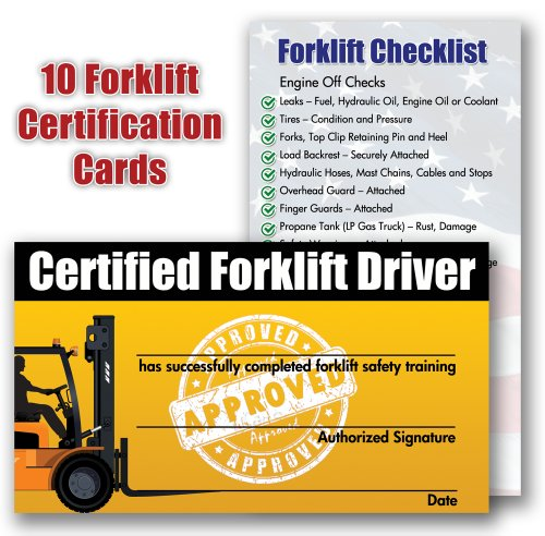 forklift certification training cards package of 10 new free shipping ebay. Black Bedroom Furniture Sets. Home Design Ideas