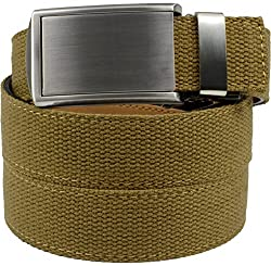 SlideBelts Men's Canvas Belt without Holes - Silver Buckle / Burlap Canvas (Trim-to-fit: Up to 48