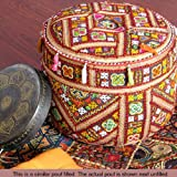 "22"" INDIAN BURGUNDY ROUND OTTOMAN POUF CHAIR POUFFE PILLOW Ethnic Vintage Decor"