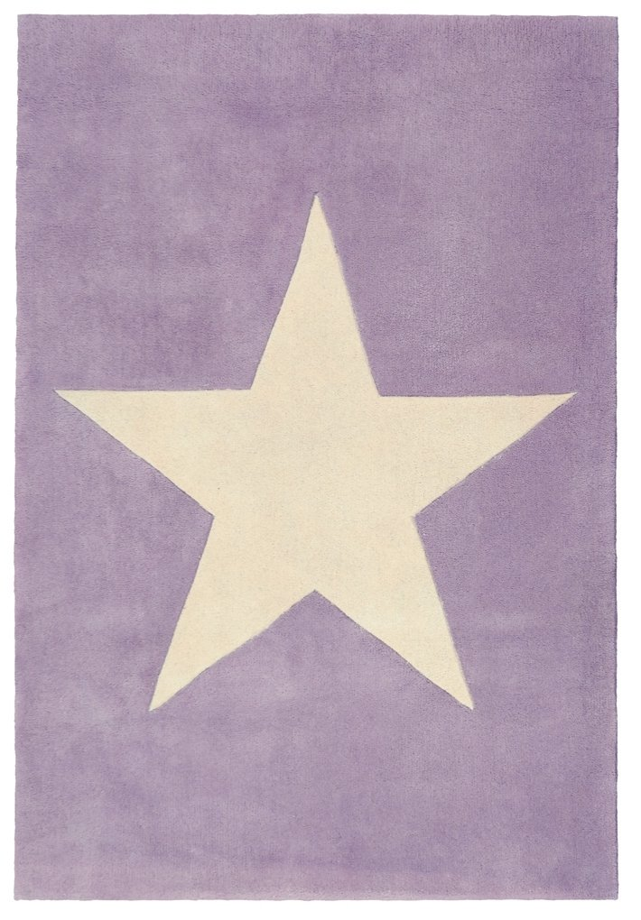 Wollteppich Happy Rugs BIG STAR flieder 160x230cm