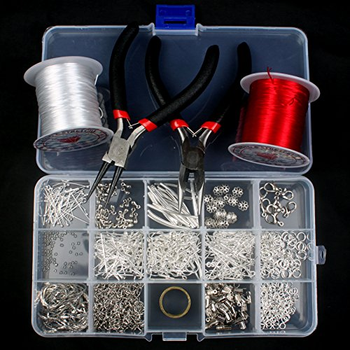 Silver Plated Jewellery Making Starter Kits Beads Pliers Chain Cord Tools Set (Jewelry Starter Kits For Adults compare prices)
