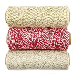 Wrapables 4-Ply Cotton Baker\'s Twine for Gift Wrapping and Arts and Crafts, 110-Yard Spool, Metallic Gold/Red/Metallic Silver, Set of 3