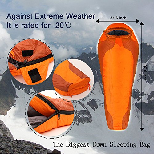 Go Camping. Mummy Sleeping Bag.it Is Rated for Temperatures Down to -20℃.eiderdown Sleeping Bag Against Extreme Weather(down Weight 4 Lb).zipper on One Side.quality Guaranty !New Year Promotion!come on Baby!