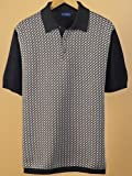 Paul Fredrick Mens Cotton Herringbone Short Sleeve Polo Collar Sweater