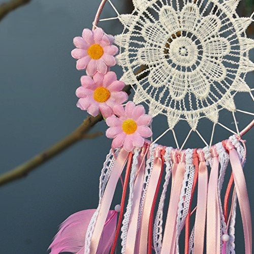 "Ricdecor Handmade Indian Real Feathers Dream Catcher Wall Hanging Car Hanging Decoration Ornament (Dia 5.9"" Pink flowers)"