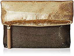 La Regale Colorblock Foldover Mesh Clutch, Gold Ombre, One Size