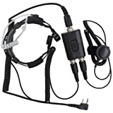 KENMAX Military Police Equipment Throat Mic Air Tube PTT Headset for Walkie Talkie Two Way Radio Baofeng BF-F8HP GT-3 BF-F9V2+ UV-6R UV-5X GT-1 Wouxun KG-UV8D KG-UV6D KG-UV899 (Color: black)