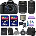 Canon EOS Rebel T6i Digital SLR + Canon EF-S 18-135mm f/3.5-5.6 IS STM Lens + Canon EF 75-300mm f/4-5.6 III Lens + Bright LED light+ 2pc 64GB Memory Cards + Paging Zone Cleaning Kit