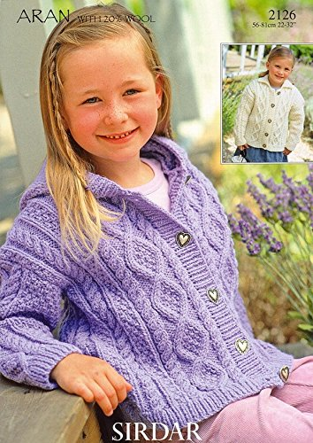 Sirdar Bonus Aran -Children Cardigans Pattern - 2126 1 to 12 years Pattern sirdar snuggly double knitting baby cardigan pattern