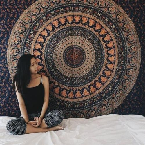 Jaipurhandloom-Blue-Hippie-Mandala-Bohemian-Psychedelic-Intricate-Floral-Design-Indian-Bedspread-Magical-Thinking-Tapestry
