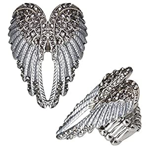 Bague ailes d'ange avec strass couleur: argenté / gris