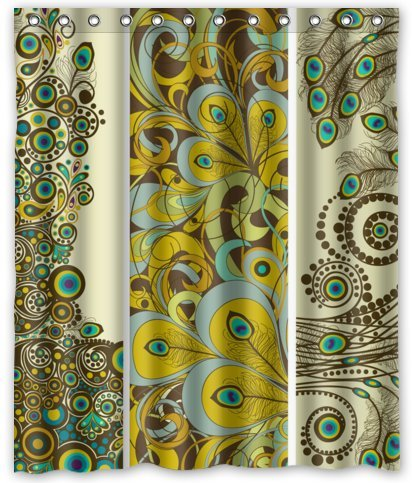 """Standard-Store Custom Fashionable Design Peacock Feather Waterproof Fabric Polyester Shower Curtain 60"""" x 72"""""""