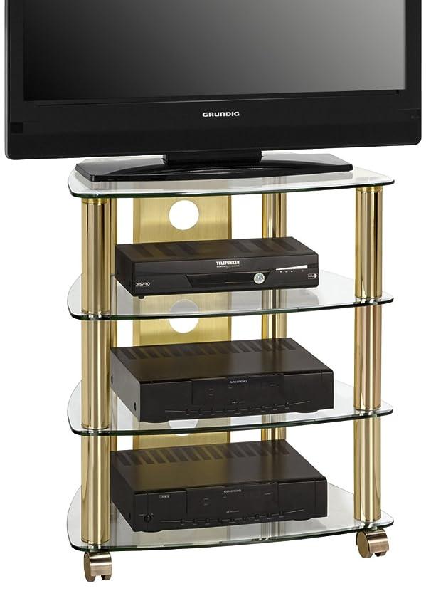 MAJA-Möbel 1609 9978, Mobiletto con ripiani per TV/HiFi, in ottone/vetro trasparente, 60 x 72 x 46,5 cm