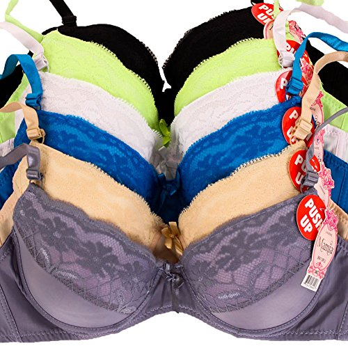 MaMia Women's 6 Push Up Bras Floral Lace Trim Basic Colors