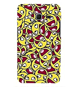 Printvisa Dual Colour Smiley Pattern Back Case Cover for Samsung Galaxy Core Prime G360
