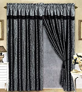 Ah Black Grey Flocking Leopard Satin Window Curtain Drape Set Sheer Liner Valance