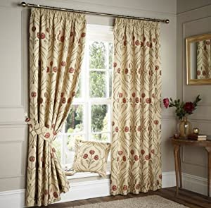 "Helston Lined Pencil Pleat Jacquard Damask Orange Curtains 90"" X 72"" *uaevuon* by PCJ SUPPLIES"