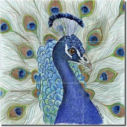 "Peacock by Sara Mullen - Bird Ceramic Tile Mural 18"" x 18"" Kitchen"