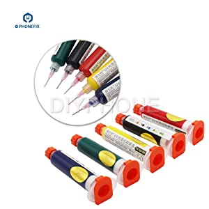 10CC Soldering Paste Flux Cream with Needles Welding Fluxes Oil UV Solder Mask Flim for Phone Motherboard BGA PCB Protection Repair (Red) (Color: Red, Tamaño: 10CC)