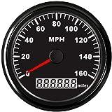 SAMDO Universal Motorcycle GPS Speedometer Digital Car Speedometer Boat Gauge With Odometer 160MPH 85mm Marine Speedometer (Color: Black)