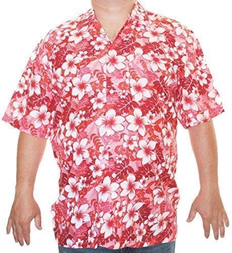 Herren Hawaii Hemd Pastell S/M/L - Rot, L