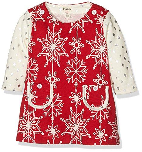 Hatley Pretty Snowflakes Mod Dress-Infant, Vestito Bimbo, Rosso, 6-12 Mesi