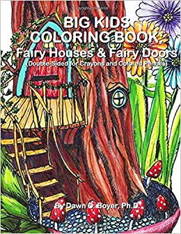 Big kids coloring book fairy houses and fairy doors for Amazon uk fairy doors