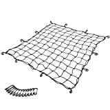 5'x5' to 10'x10' Truck Bed Cargo Net Heavy Duty Truck Bed Bungee Nets with 12 Tangle-Free D Clip Carabiners,12 Nylon Hooks, 5mm Cord, for Pickup Truck Bed and SUV Rooftop Travel Luggage Rack etc