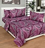 La elite Cotton Abstract King sized Double Bedsheet (1 Double Bedsheet + 2 Pillow Covers, Purple)