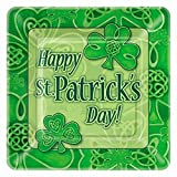 Square Saint Patrick s Day Clover Dinner Plates, 8ct