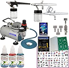 Master Airbrush Tattoo System 3 Airbrushes Air Compressor Deluxe Book of 100 Stencils 639 Hose Airbr