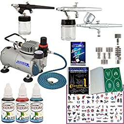 Master Airbrush Tattoo System. 3 Airbrushes, Air Compressor, Deluxe Book of 100 Stencils, 6\' Hose, Airbrush Holder, 3 Quick Couplers, Black, Red & Blue Temporary Tattoo Ink in 1-oz Bottles. Now Includes a (FREE) How to Airbrush Training Book to Get You St