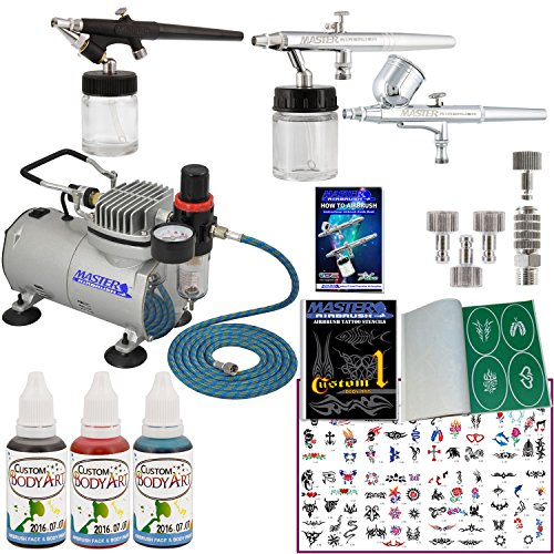 Master Airbrush Tattoo System. 3 Airbrushes, Air Compressor, Deluxe Book of 100 Stencils, 6' Hose, Airbrush Holder, 3 Quick Couplers, Black, Red & Blue Temporary Tattoo Ink in 1-oz Bottles. Now Includes a (FREE) How to Airbrush Training Book to Get You Started.