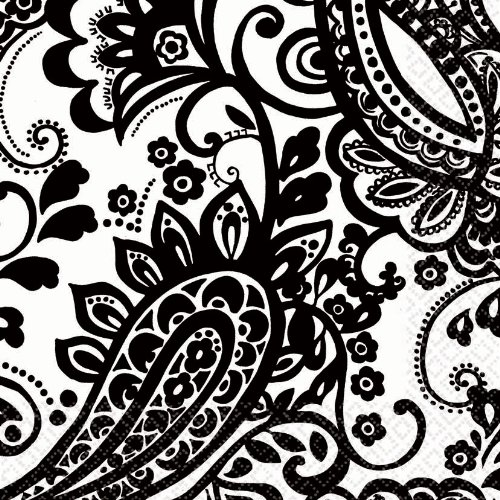 "Amscan Disposable 2-Ply Lunch Napkins in Elegant Paisley Print (16 Pack), 6.5 x 6.5"", Black/White"