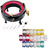 addi Express King Size Knitting Machine Kit Includes 46 Needles Bundle with 20 Skein 100% Cotton Mini Yarns (Color: Black)