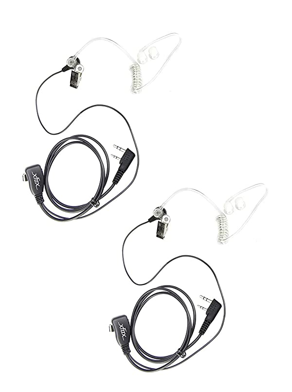 XFOX 2 Pin PTT Covert Air Acoustic Tube Headset Earpiece for Kenwood PUXING Baofeng UV-5R UV-5RA 888S 2 Way Radio Walkie Talkies (2 Pack)